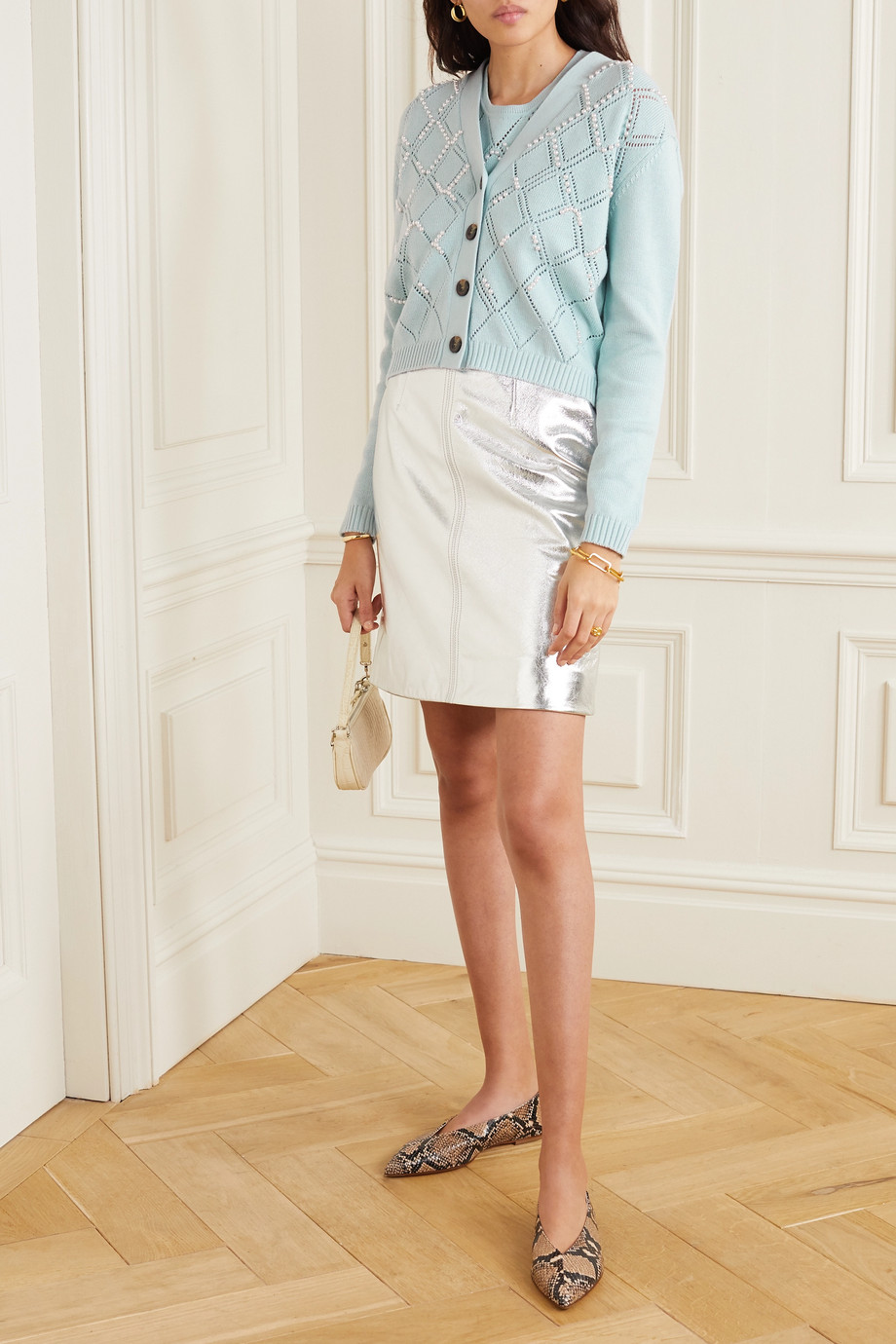 ALEXACHUNG Faux pearl-embellished wool and cotton-blend cardigan