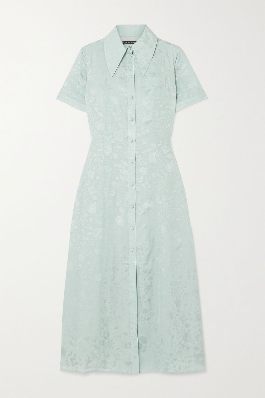 ALEXACHUNG Satin-jacquard midi shirt dress