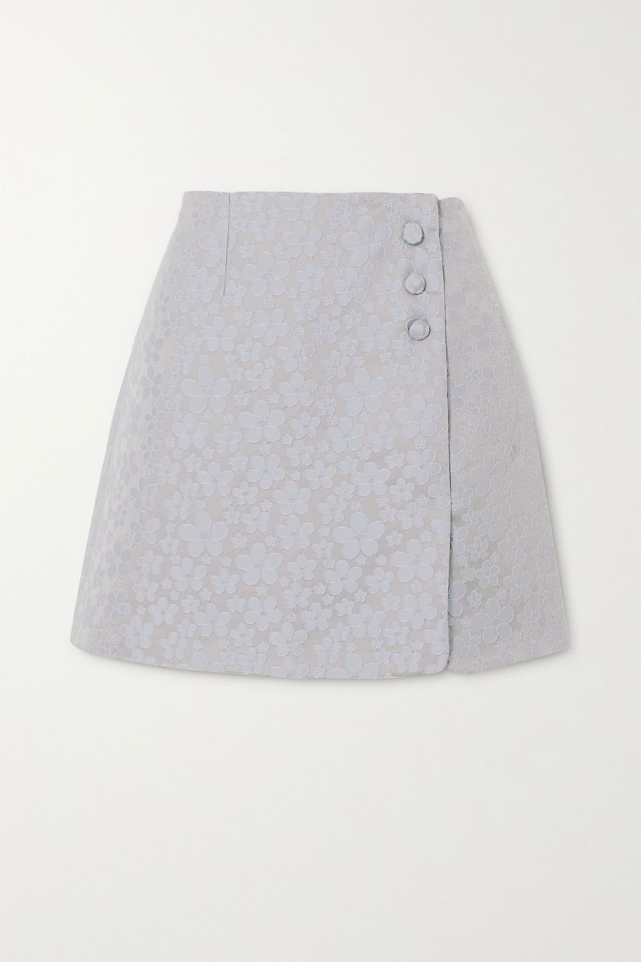 ALEXACHUNG Embroidered wrap-effect woven mini skirt