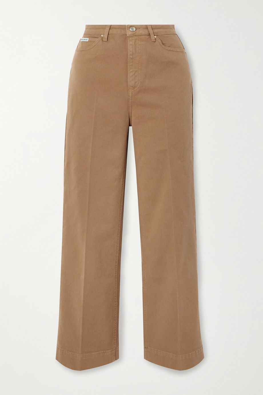 ALEXACHUNG Cropped cotton-blend twill wide-leg pants