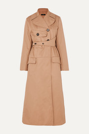 Overload belted padded cotton-twill coat