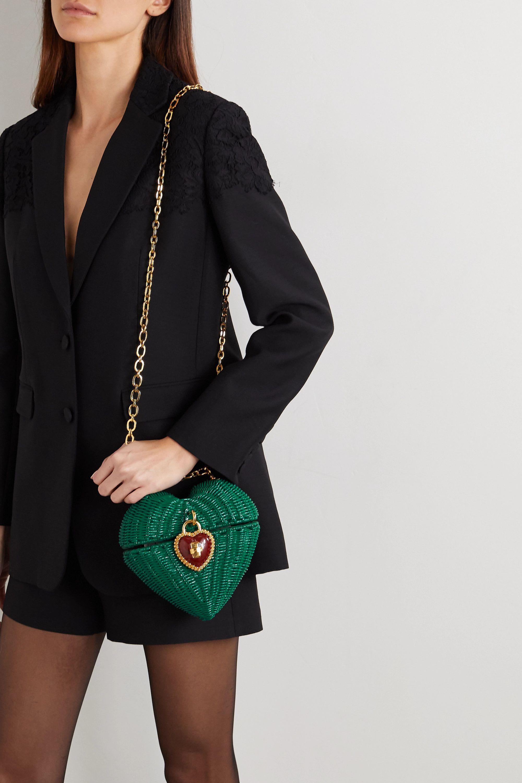 Dolce & Gabbana Heart Box embellished rattan and patent-leather shoulder bag