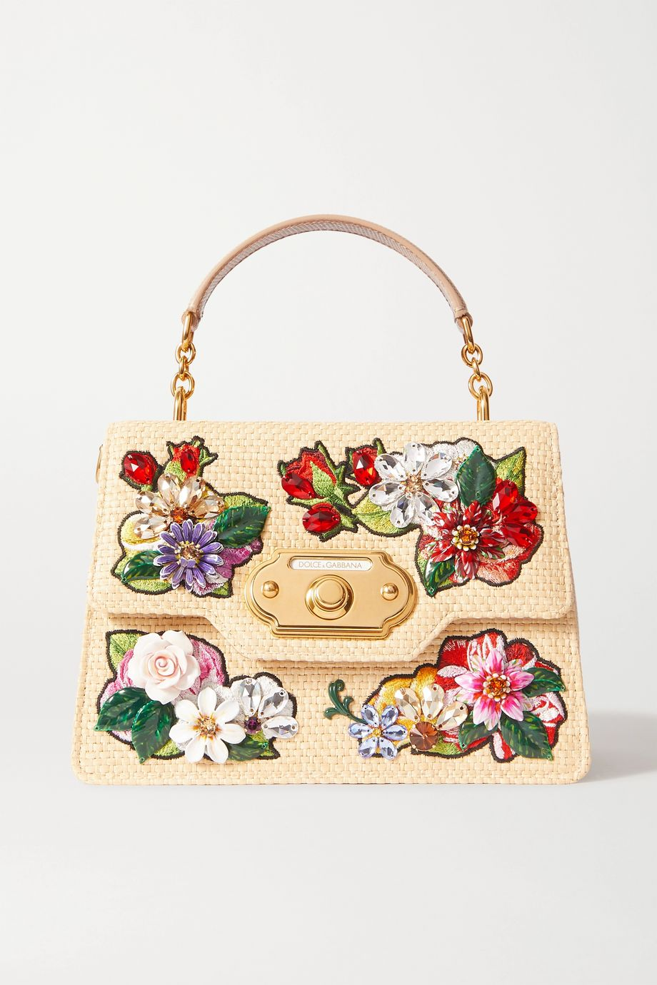 Dolce & Gabbana Welcome embellished embroidered raffia and leather tote