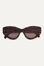 Eyelet-embellished cat-eye tortoiseshell acetate sunglasses