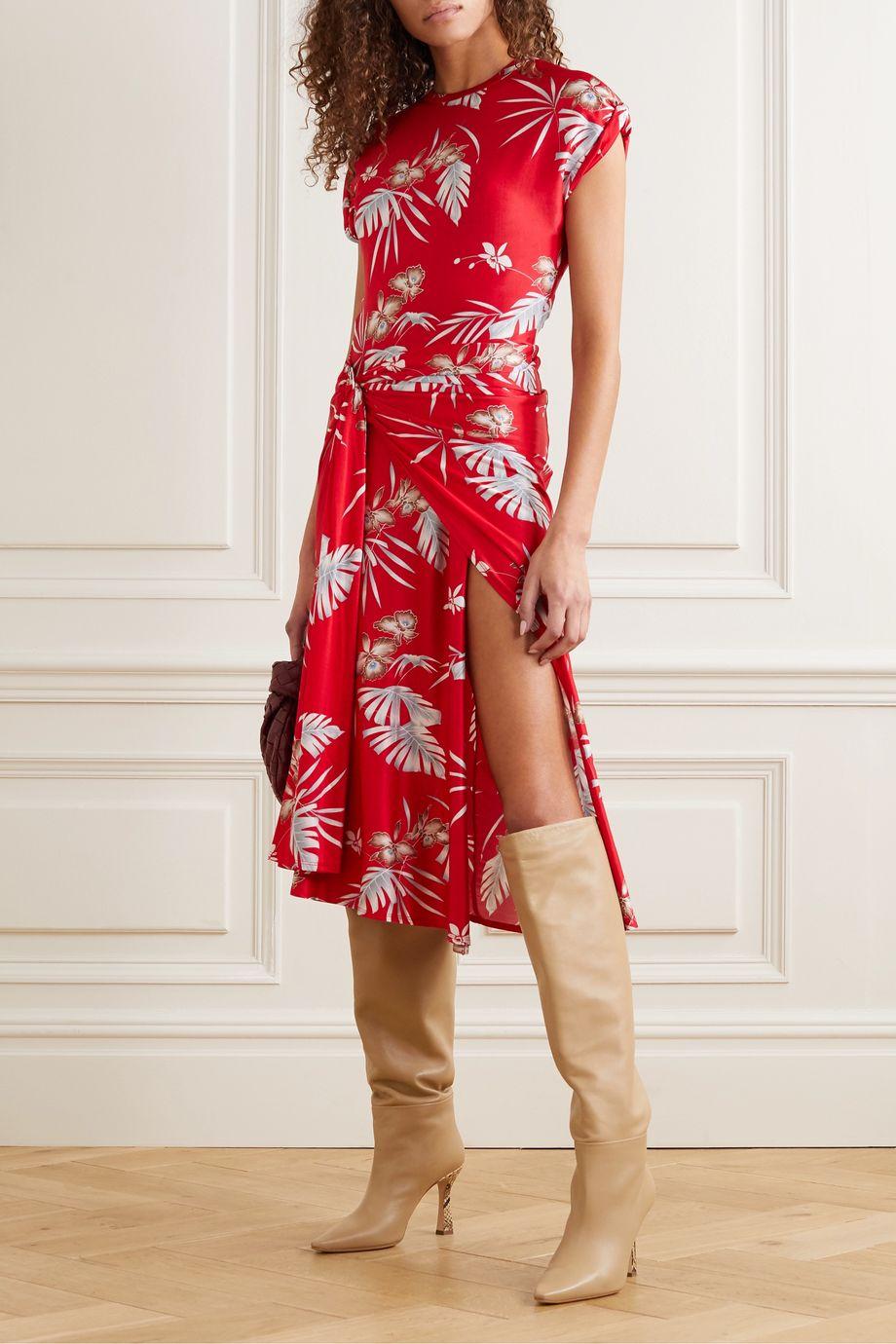 Paco Rabanne Midi-Wickelkleid aus Stretch-Jersey mit Blumenprint