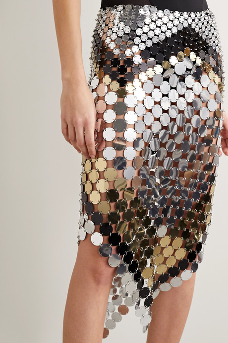 Asymmetric paillette-embellished chainmail skirt