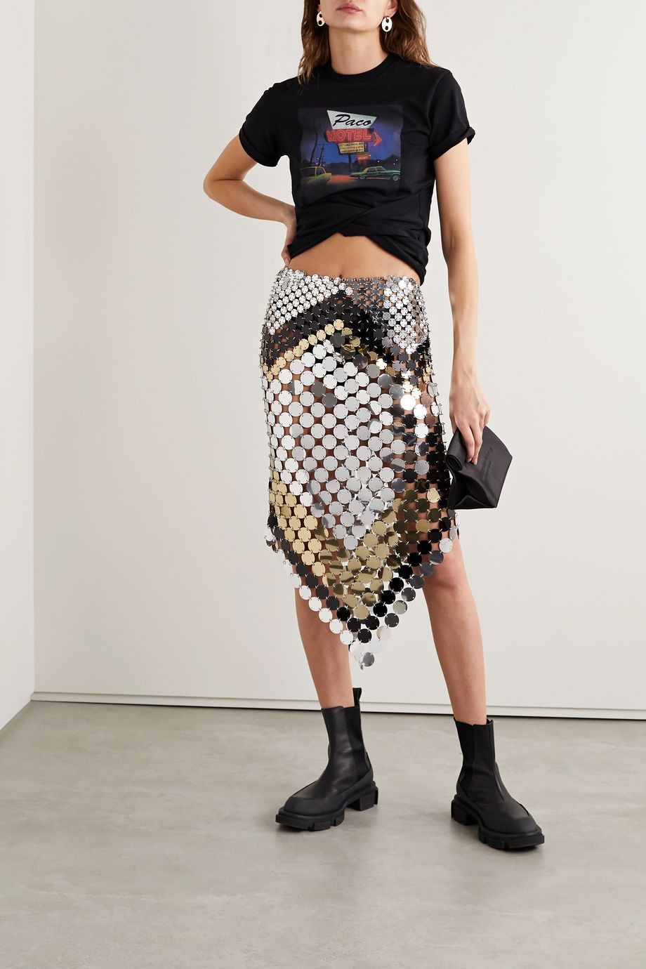 Paco Rabanne Asymmetric paillette-embellished chainmail skirt