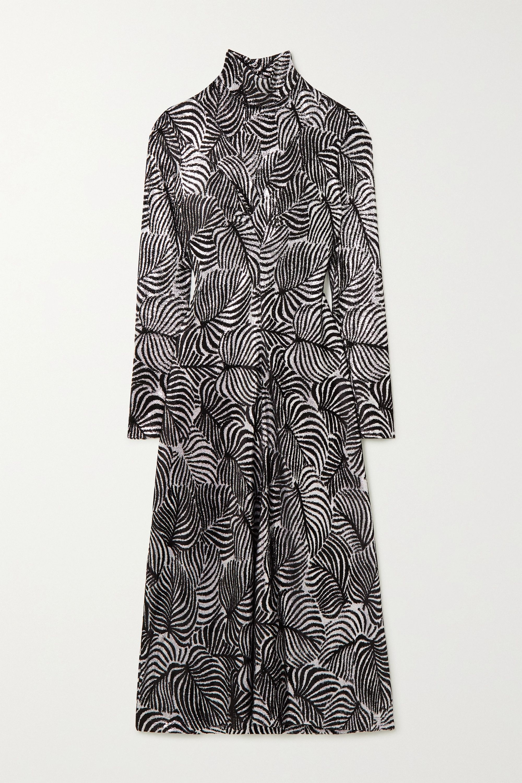 Paco Rabanne Open-back velvet-flocked lamé midi dress
