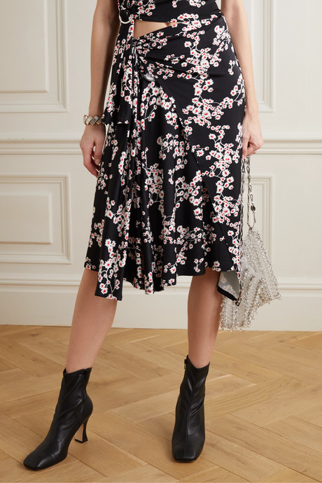 Gathered floral-print stretch-jersey wrap midi skirt