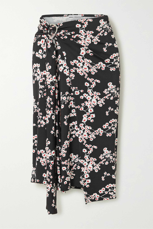 Paco Rabanne Gathered floral-print stretch-jersey wrap midi skirt