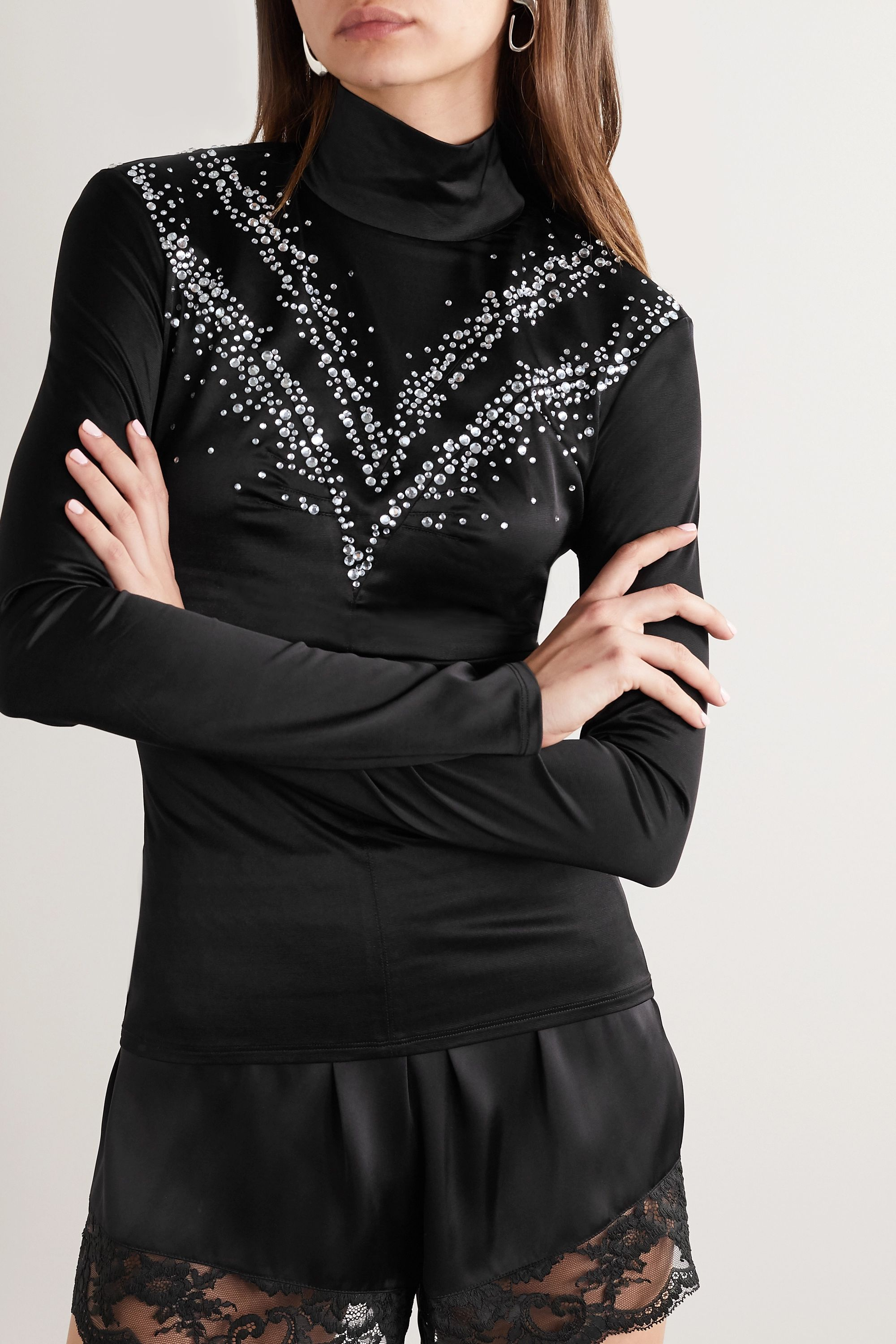 Paco Rabanne Cutout embellished stretch-satin turtleneck top