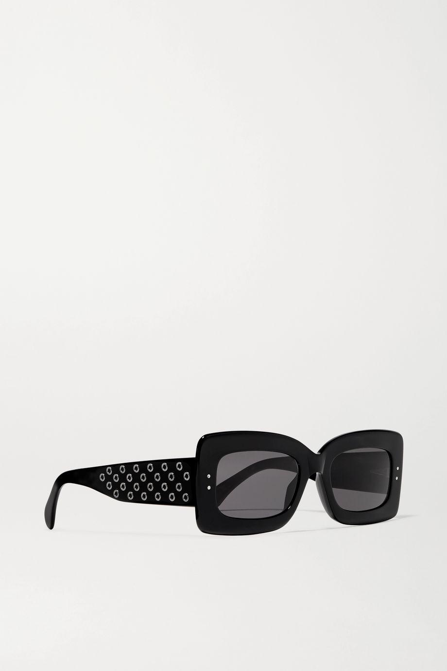 Alaïa Eyelet-embellished square-frame acetate sunglasses