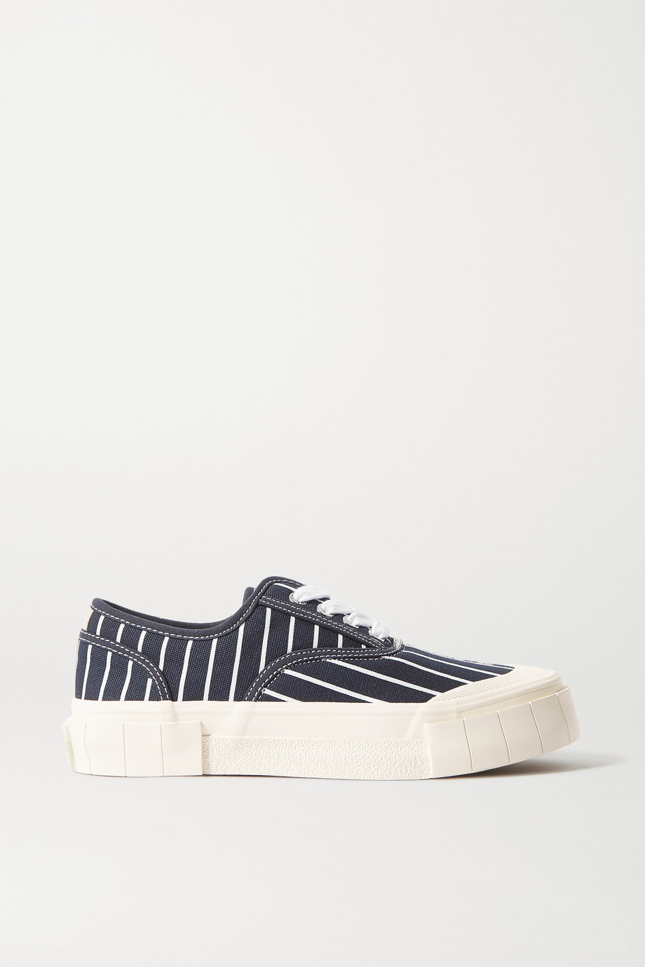 GOOD NEWS + NET SUSTAIN Hurler pinstriped organic cotton-canvas sneakers
