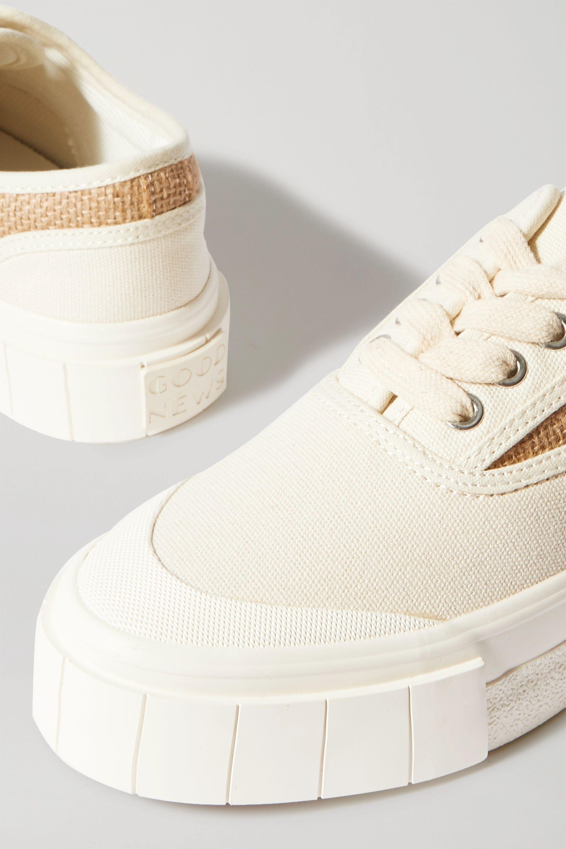 GOOD NEWS + NET SUSTAIN Softball organic cotton-canvas and jute sneakers