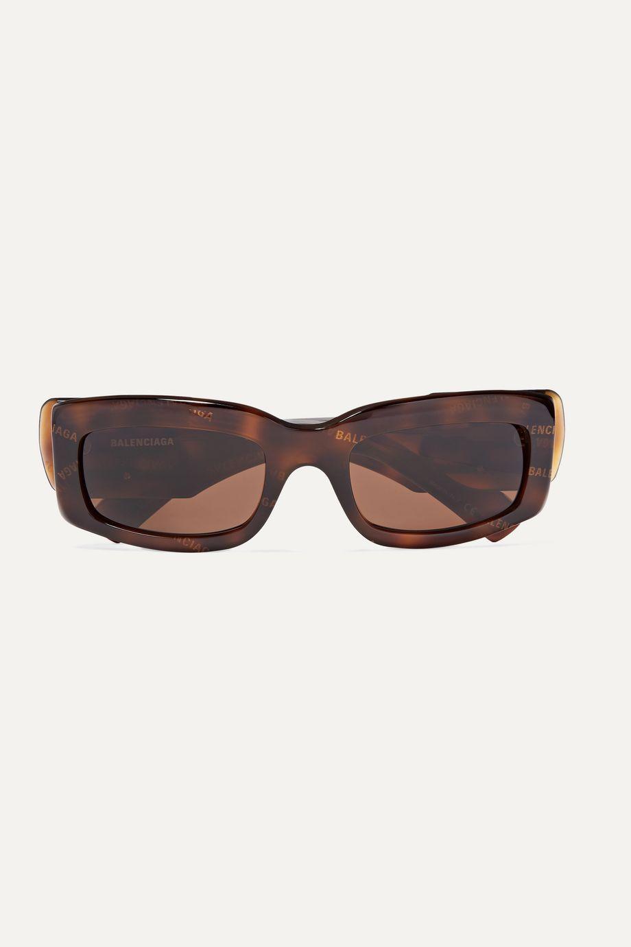 Balenciaga Paris printed square-frame tortoiseshell acetate sunglasses