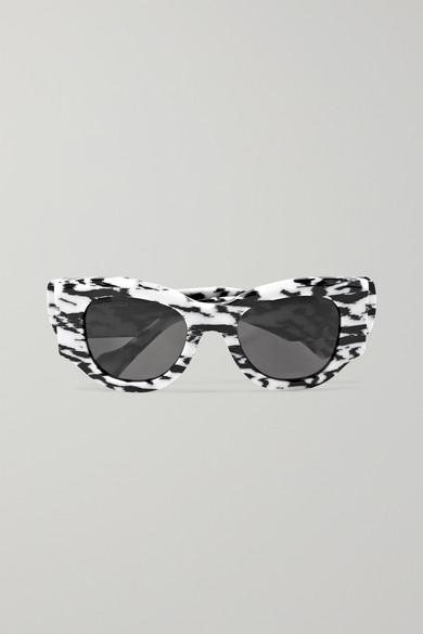 Balenciaga Sunglasses Oversized cat-eye zebra-print acetate sunglasses