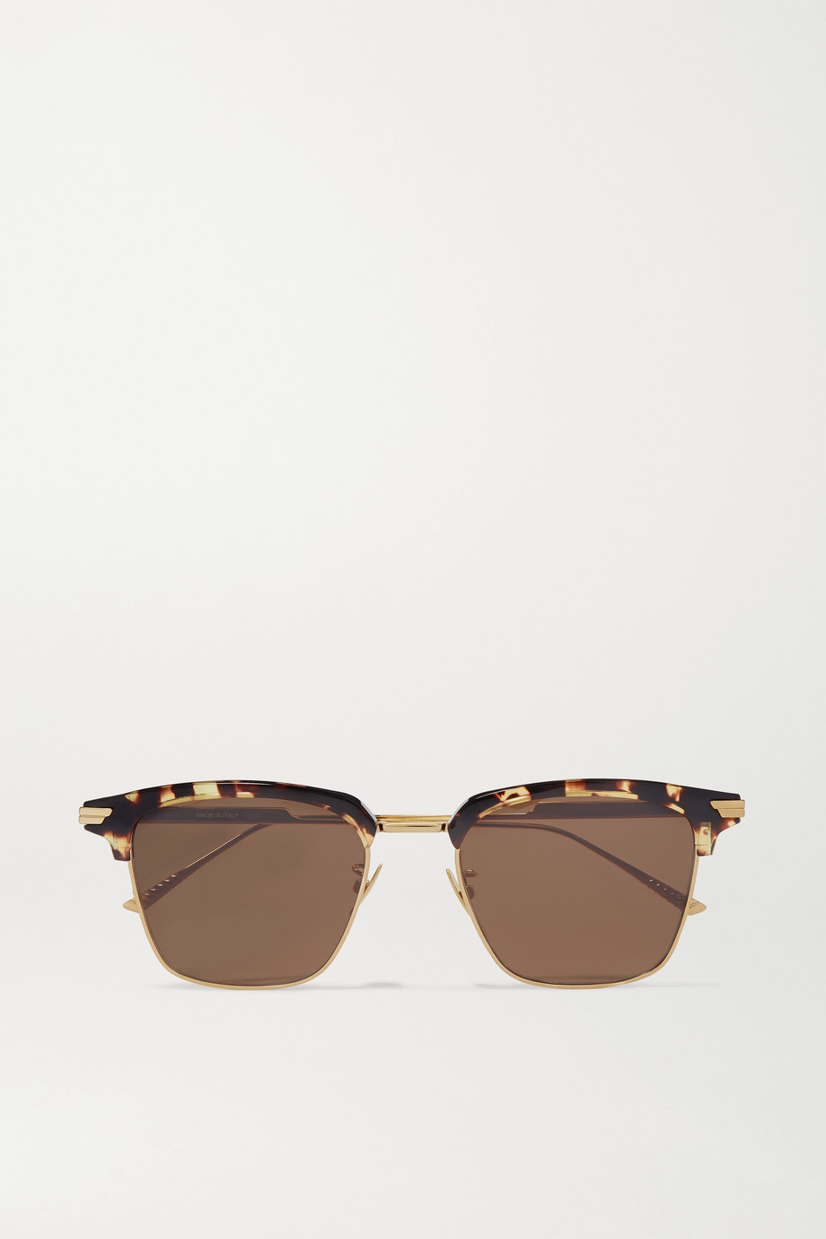 Bottega Veneta Light Ribbon goldfarbene Sonnenbrille mit eckigem Rahmen und Details aus Azetat in Hornoptik