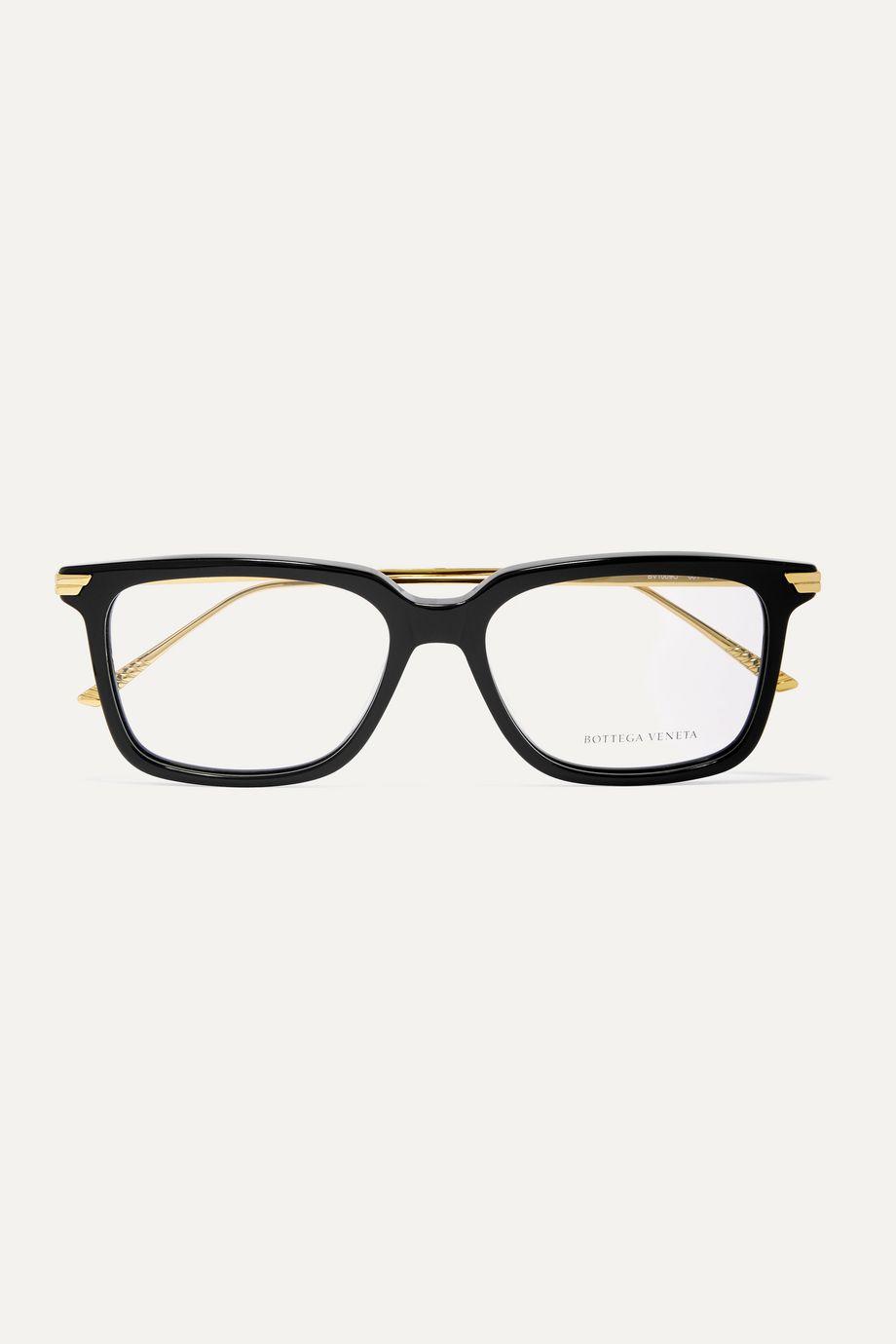 Bottega Veneta Light Ribbon square-frame acetate and gold-tone optical glasses