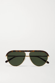 Stella McCartney Falabella chain-embellished aviator-style gold-tone and tortoiseshell bio-acetate sunglasses