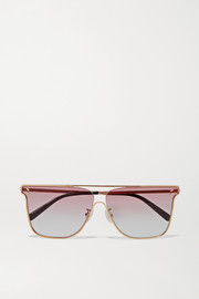 D-frame gold-tone sunglasses