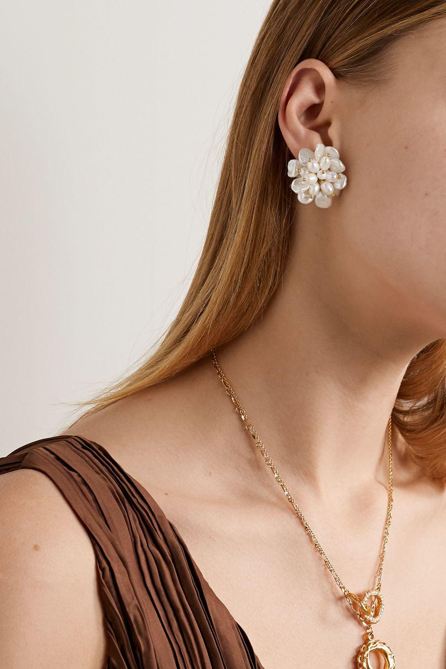Bibi Marini Gold-plated pearl earrings