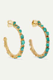 Bibi Marini Gold-plated emerald hoop earrings