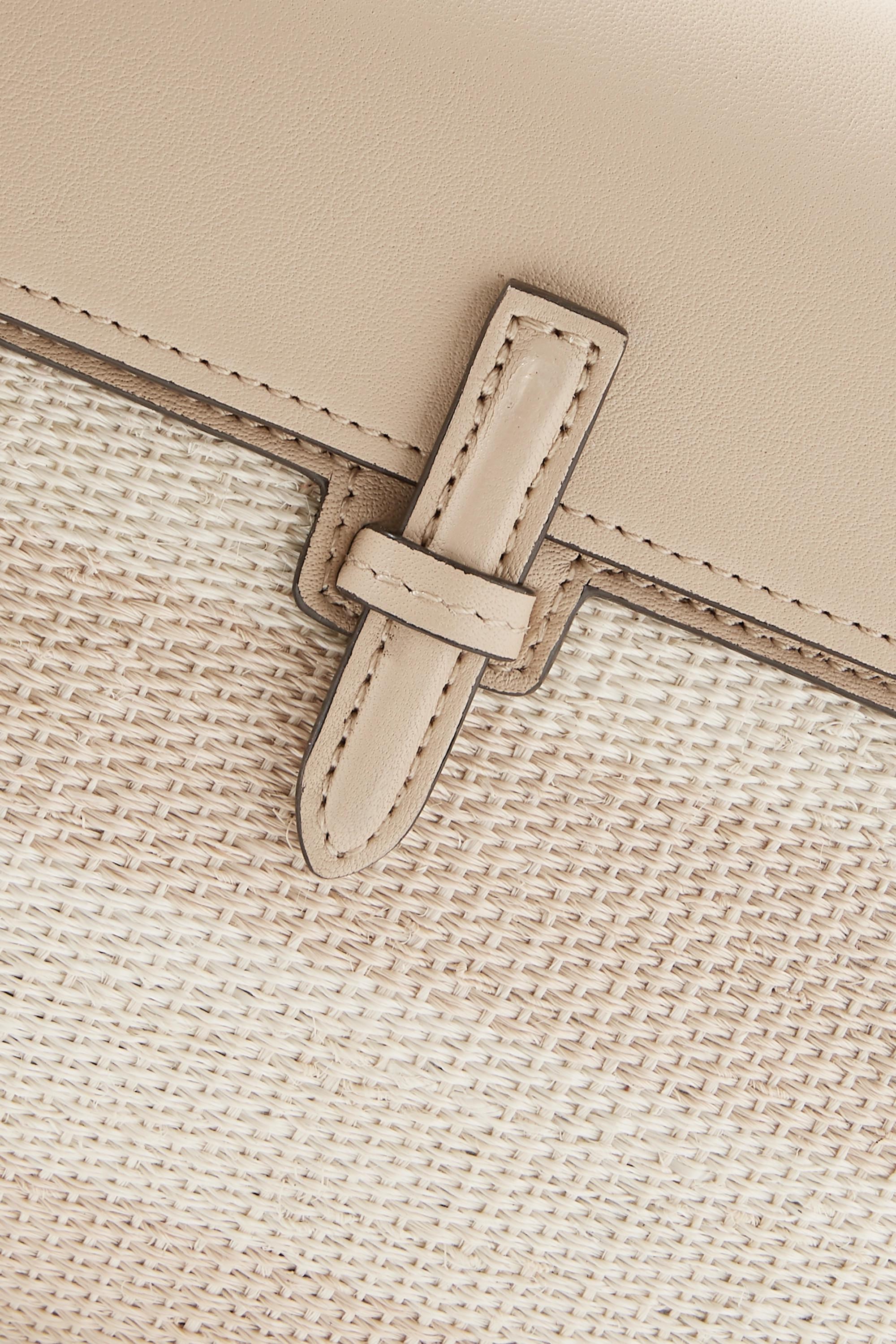 Hunting Season Leather and striped raffia clutch
