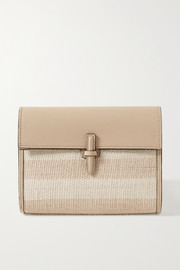 Hunting Season Leather and striped raffia clutch