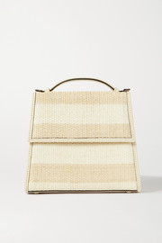 Small leather-trimmed striped raffia tote