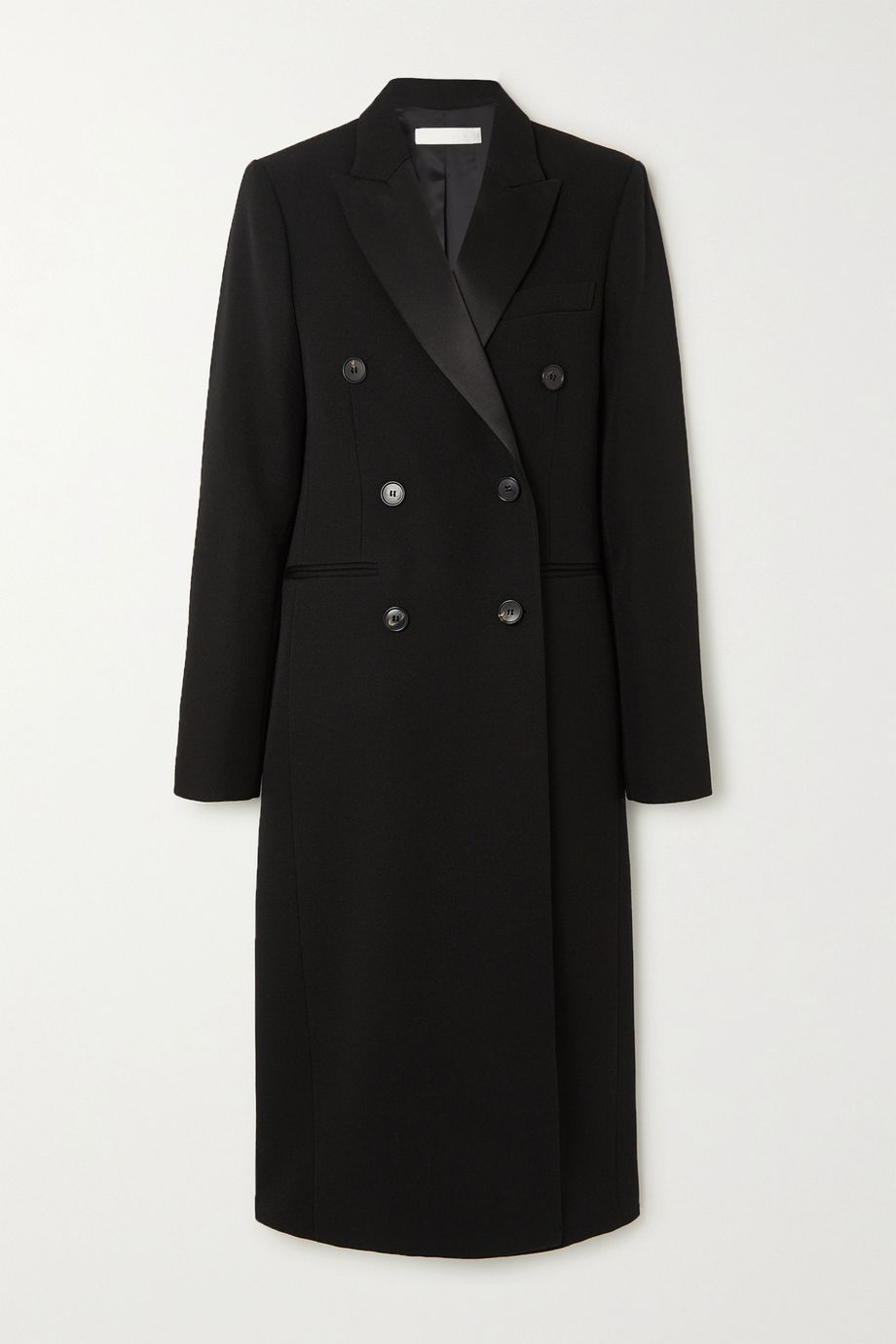 Victoria Beckham Satin-trimmed double-breasted wool-gabardine coat