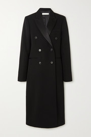 Satin-trimmed double-breasted wool-gabardine coat