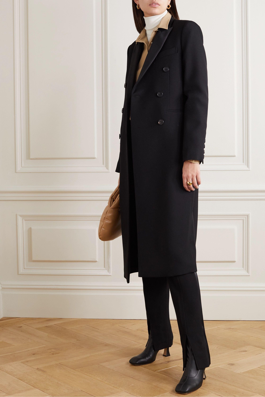 Victoria Beckham Manteau à double boutonnage en gabardine de laine à finitions en satin