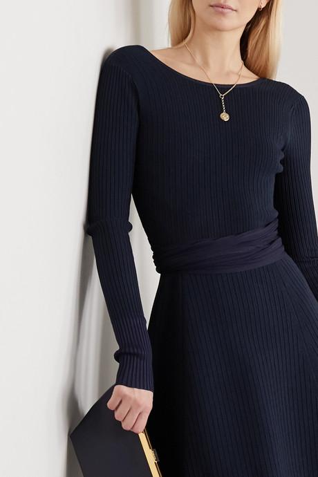 Tie-detailed ribbed-knit midi dress