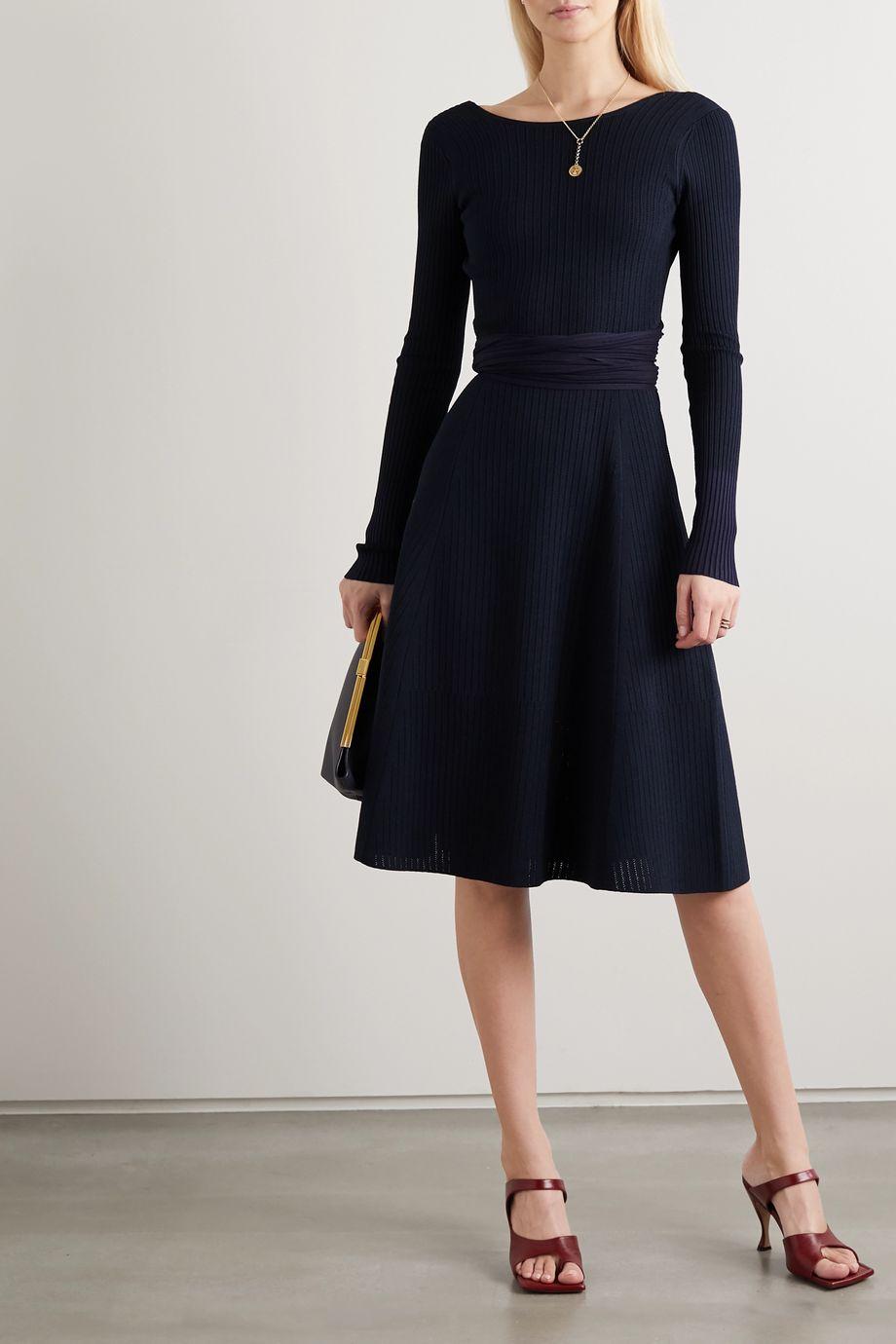 Victoria Beckham Tie-detailed ribbed-knit midi dress