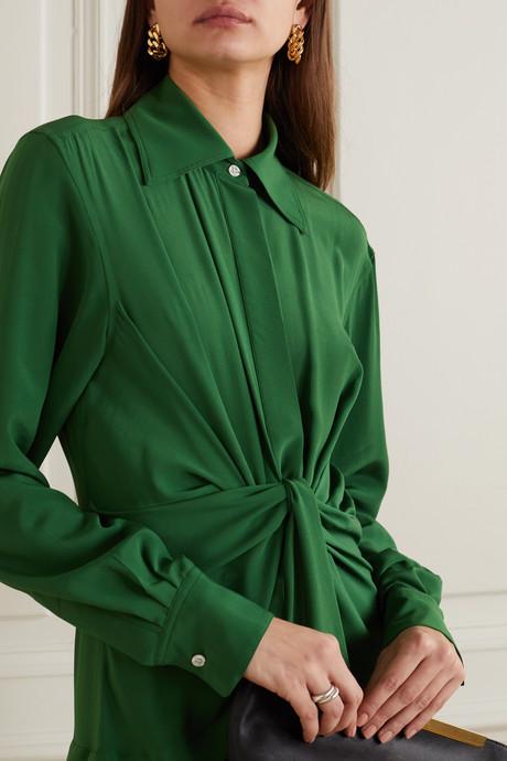 Knotted silk crepe de chine midi dress