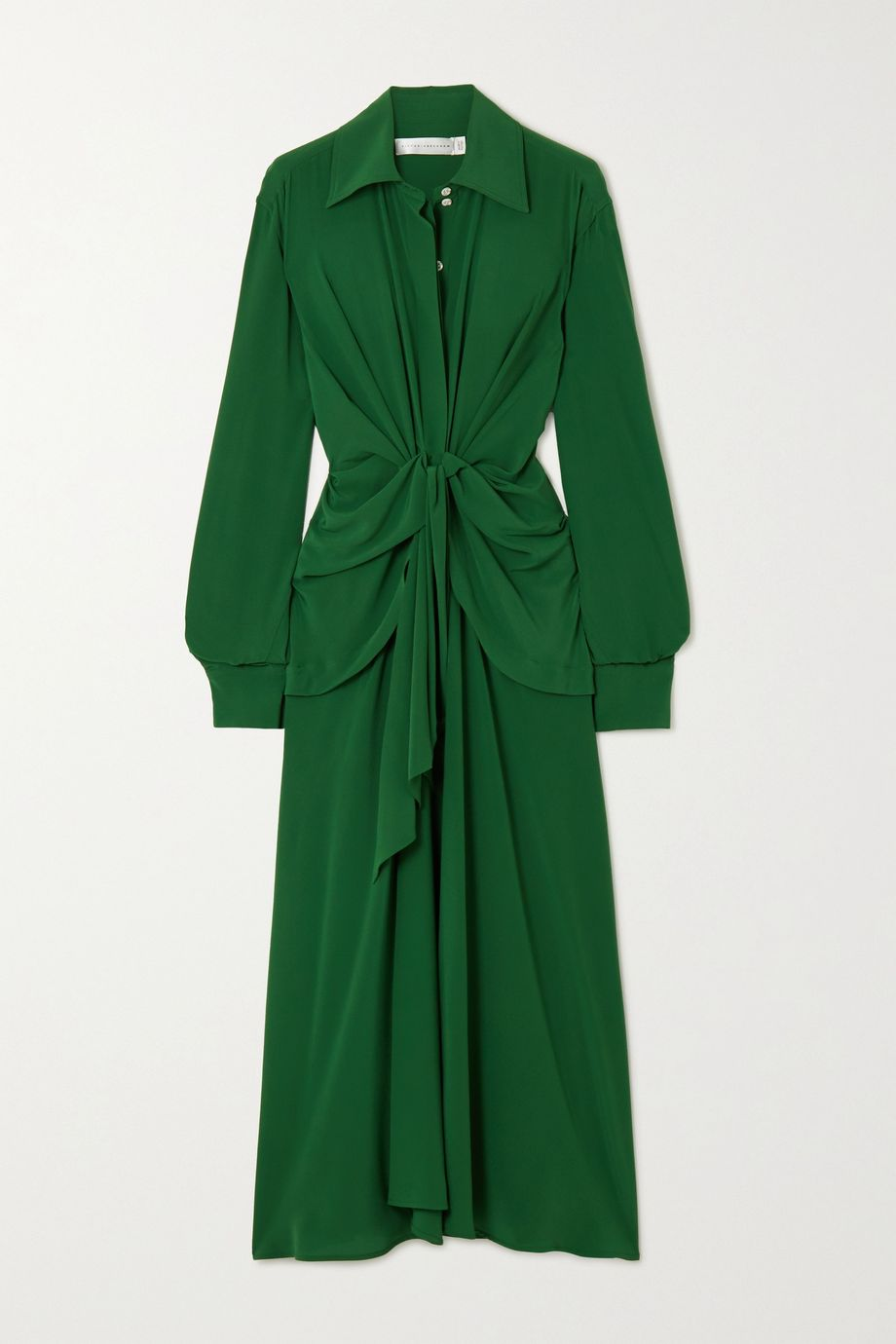 Victoria Beckham Knotted silk crepe de chine midi dress