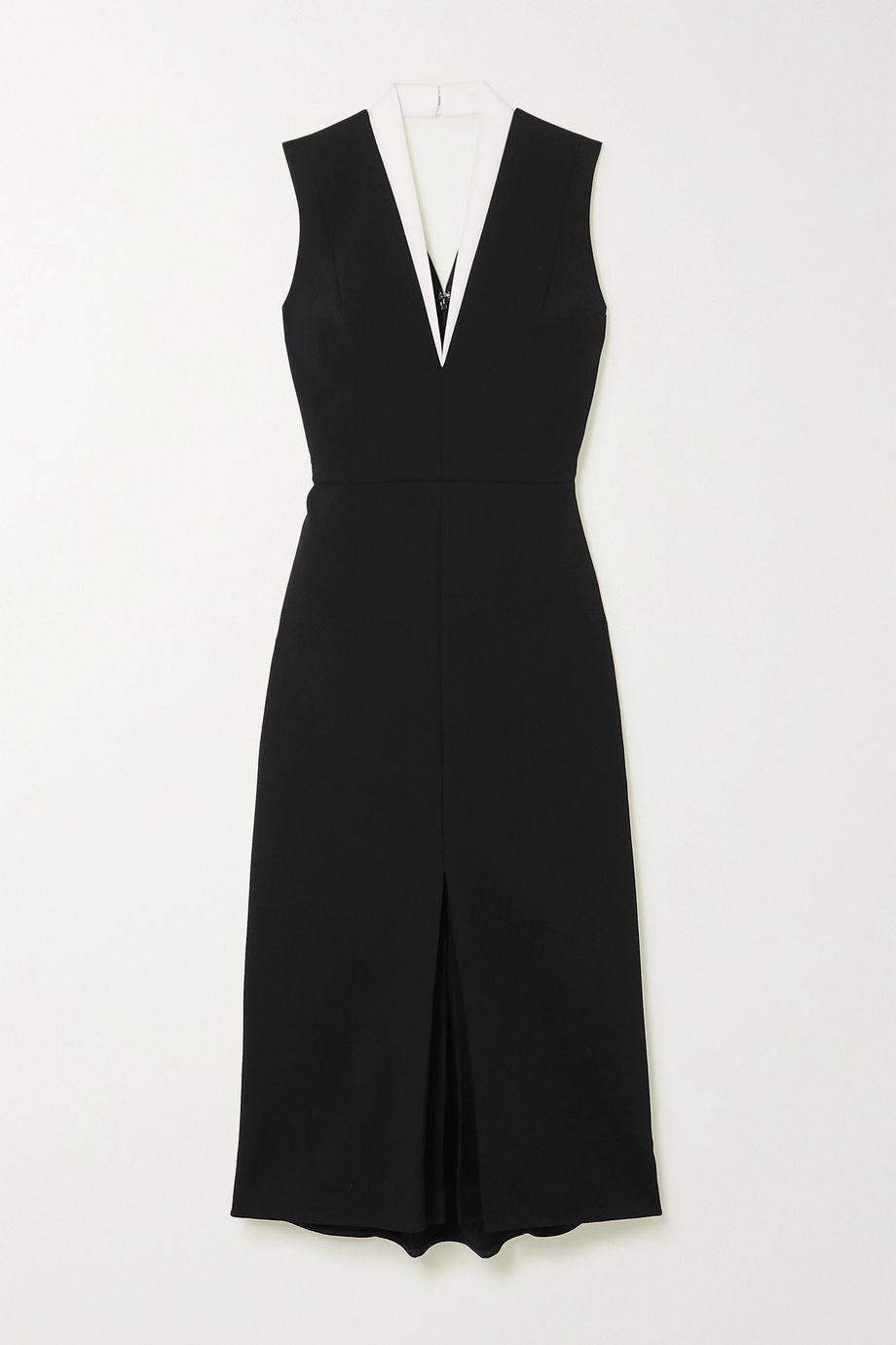 Victoria Beckham Cutout two-tone crepe dress
