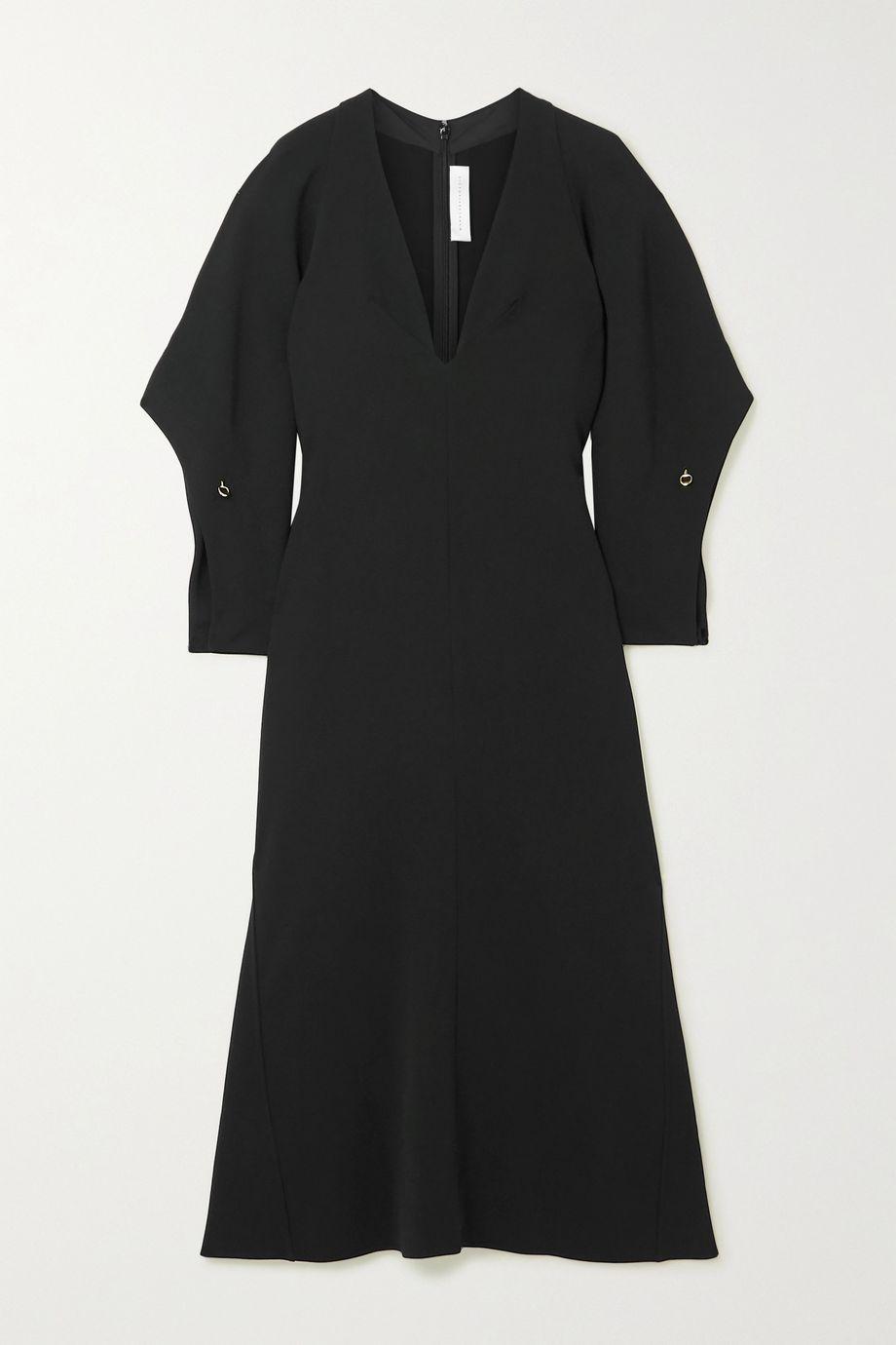 Victoria Beckham Embellished fluted cady midi dress