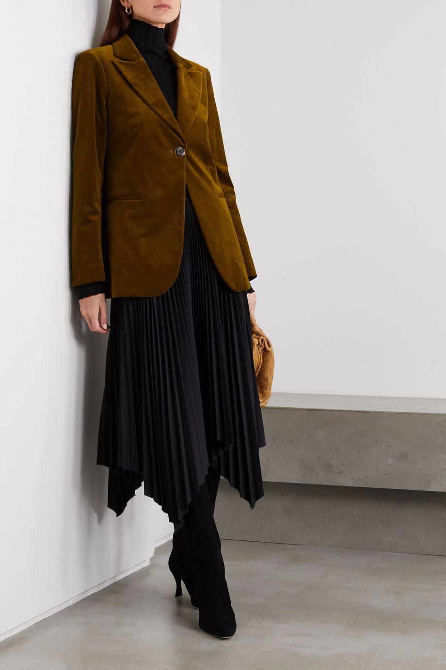 Victoria Beckham Cotton-blend velvet blazer