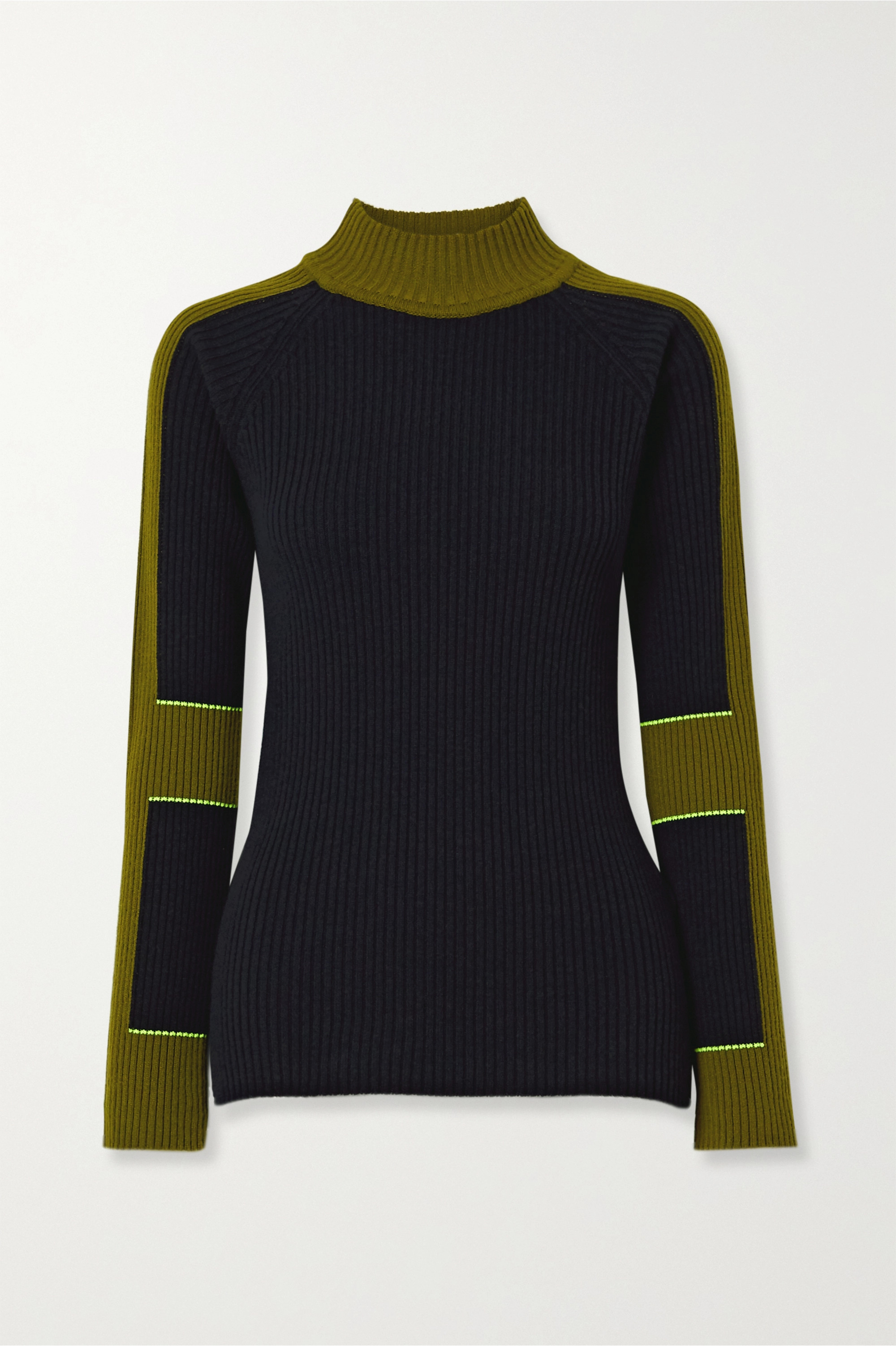 Victoria Beckham Color-block ribbed wool and cashmere-blend turtleneck sweater