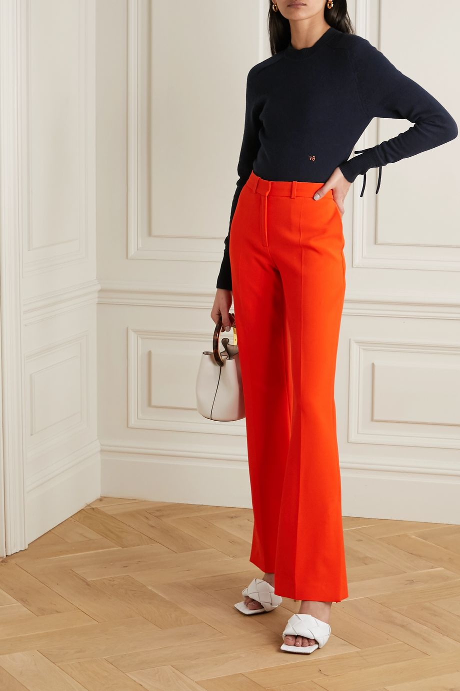 Victoria Beckham Embroidered cashmere-blend sweater