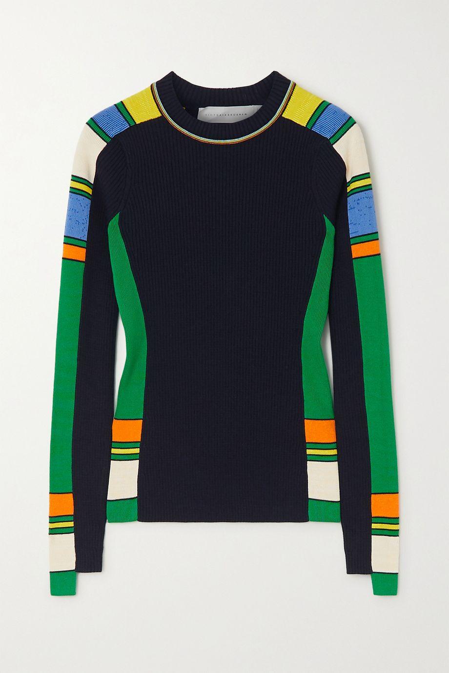 Victoria Beckham Striped ribbed cotton-blend  sweater