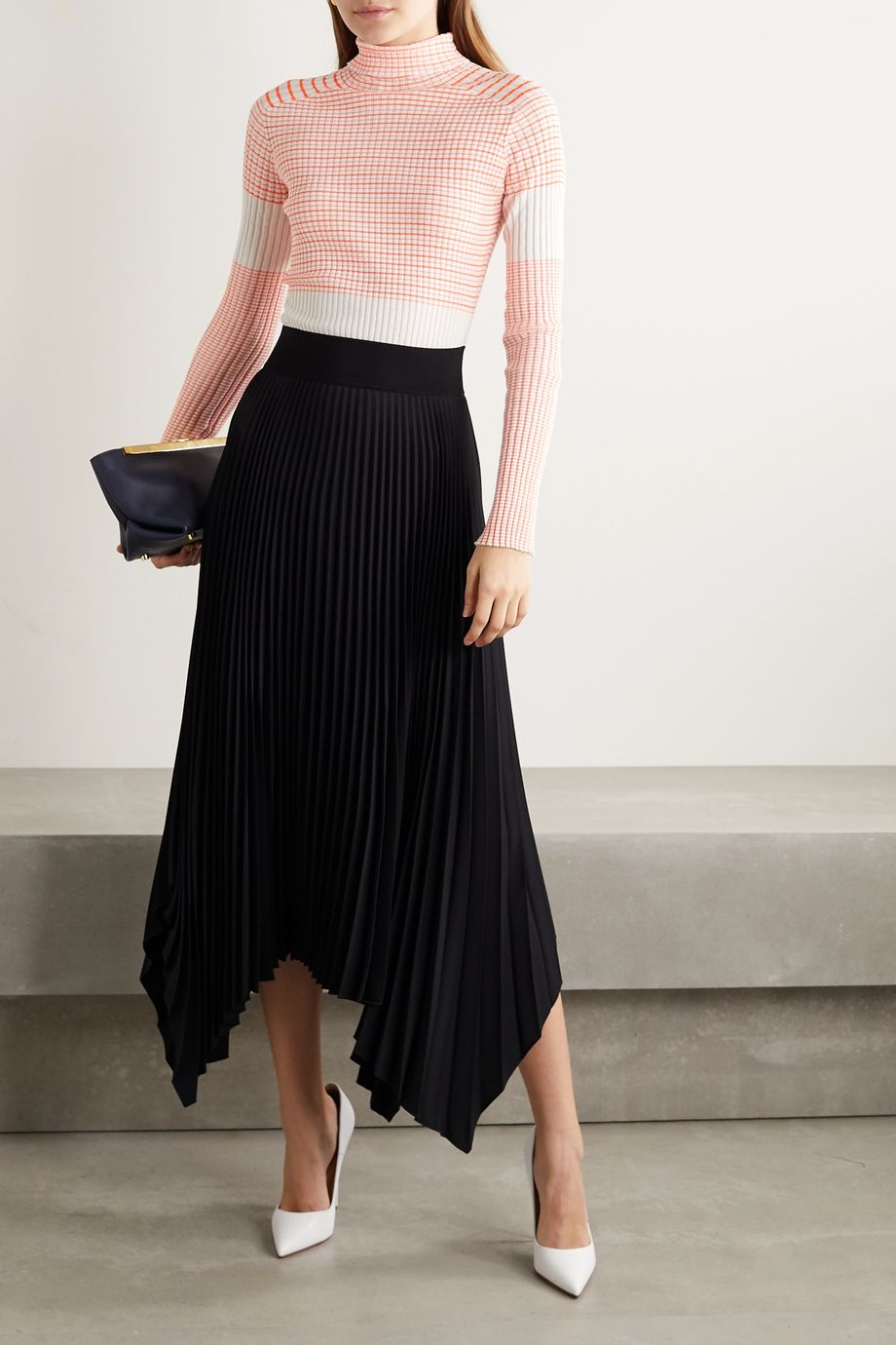 Victoria Beckham Striped ribbed cotton-blend turtleneck sweater