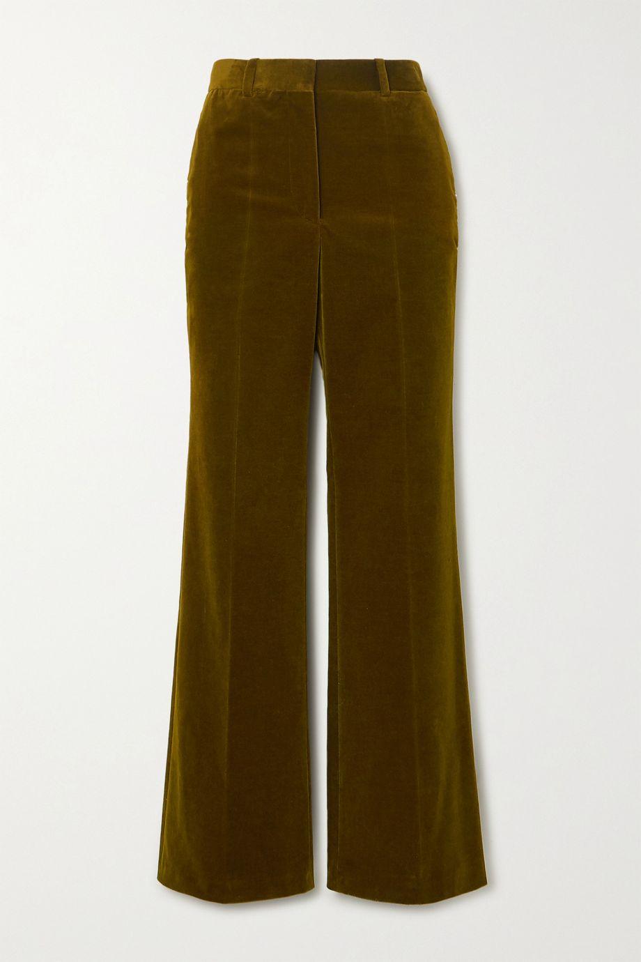 Victoria Beckham Cotton-blend velvet wide-leg pants