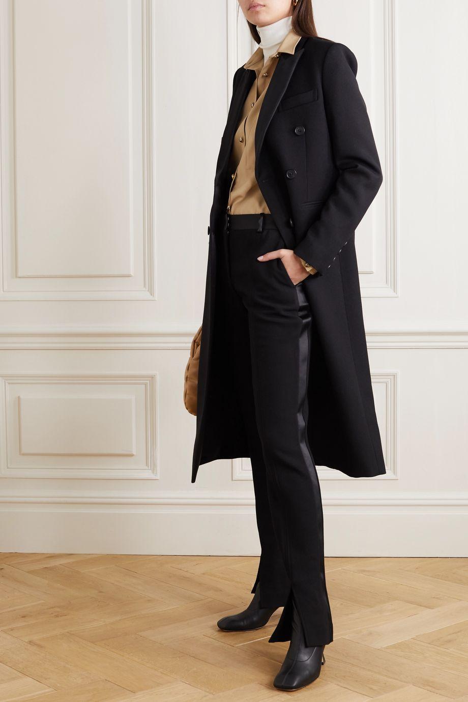 Victoria Beckham Satin-trimmed twill slim-fit pants