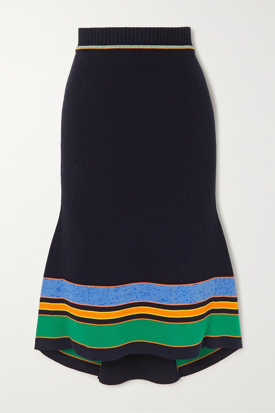 Victoria Beckham Striped ribbed cotton-blend midi skirt