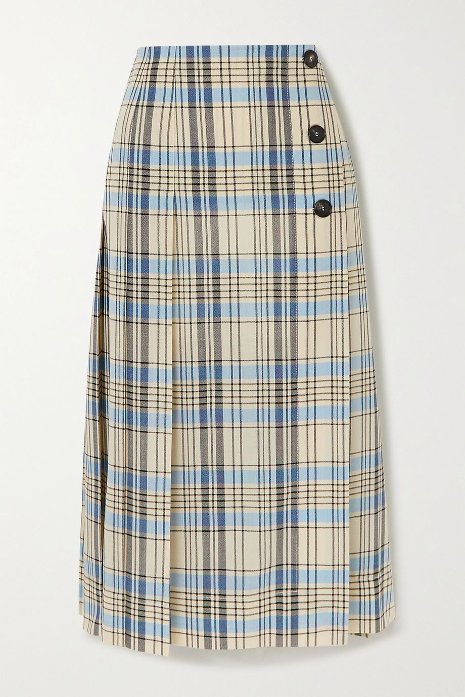 Victoria Beckham Pleated checked wool midi skirt