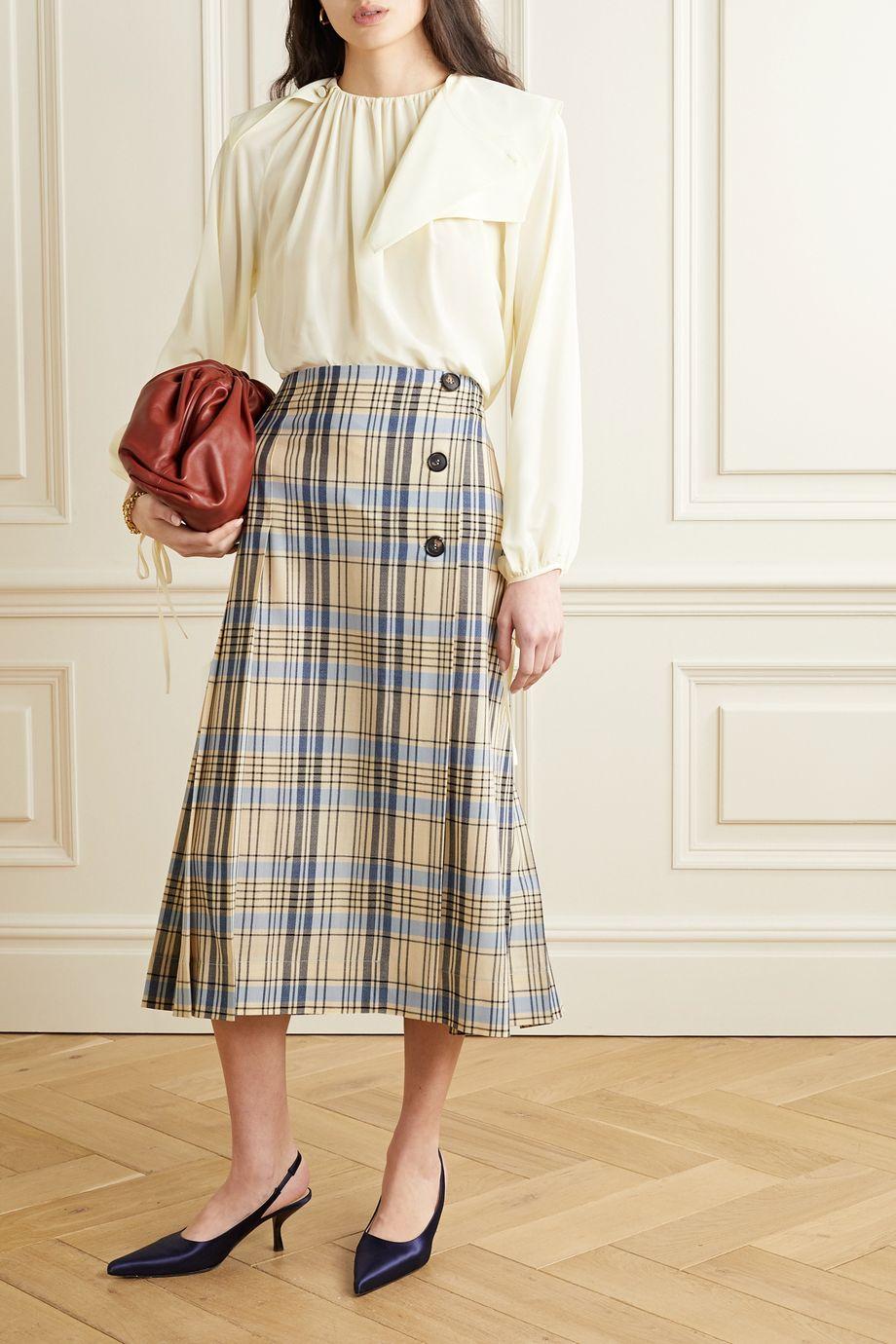 Victoria Beckham Paneled silk crepe de chine blouse