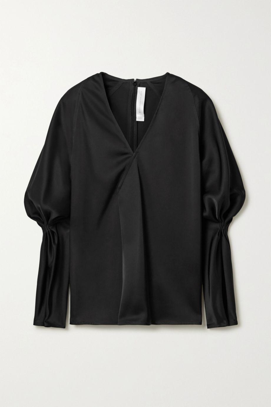 Victoria Beckham Wrap-effect gathered satin blouse