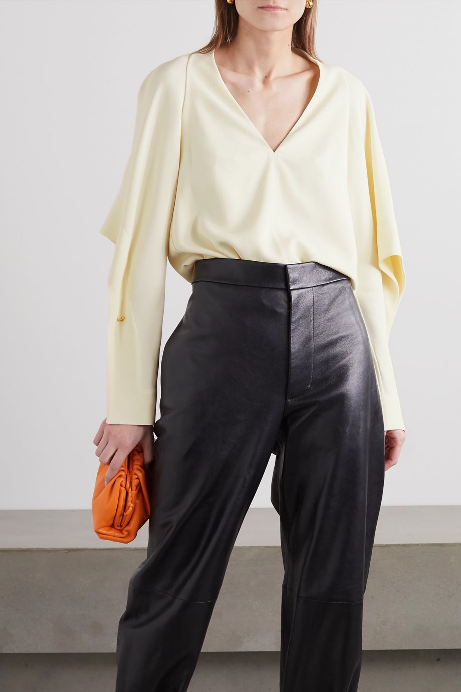 Victoria Beckham Embellished draped cady blouse